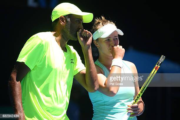Barbora Krejcikova of the Czech Republic and Rajeev Ram of the United States compete in their first round match against Casey Dellacqua and Matt Reid...