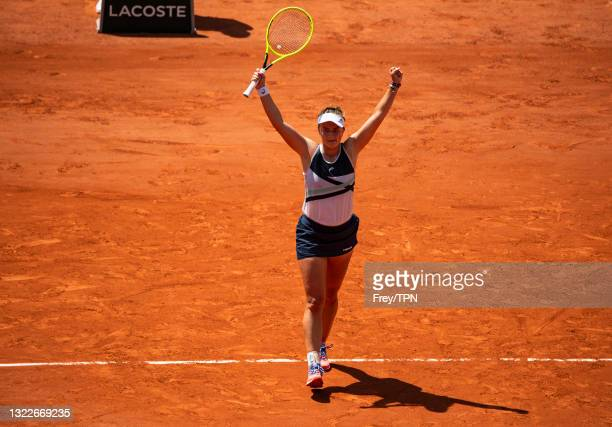Barbora Krejcikova of the Czech Republic celebrates her victory over Coco Gauff of the United States in the quarter finals of the women's singles at...