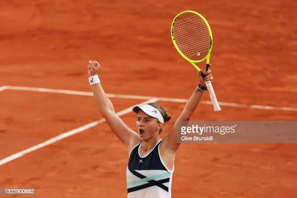 Barbora Krejcikova of The Czech Republic celebrates match point in her Semi-Final Women's Singles match against Maria Sakkari of Greece during Day...