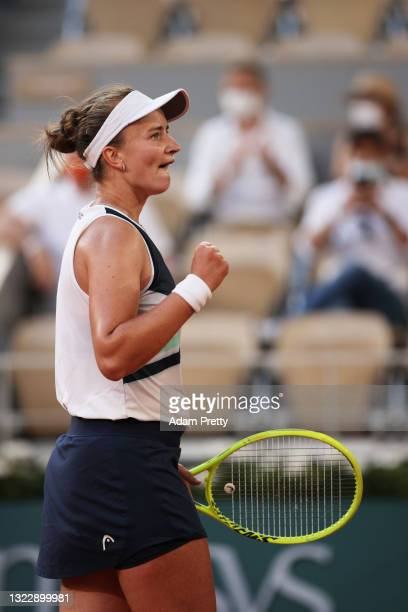 Barbora Krejcikova of The Czech Republic celebrates victory after winning her Semi-Final Women's Singles match against Maria Sakkari of Greece during...
