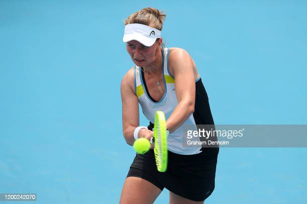 Barbora Krejcikova of the Czech Republic plays a backhand in her match against Sachia Vickery of the United States during 2020 Australian Open...
