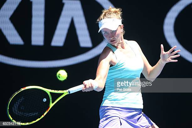 Barbora Krejcikova of the Czech Republic plays a forehand in her first round match with Rajeev Ram of the United States against Matt Reid of...