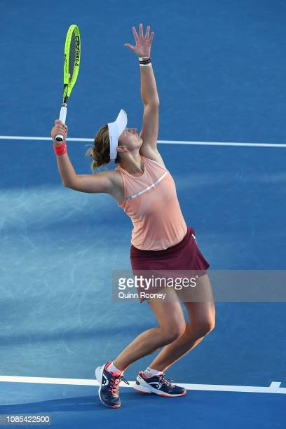 Barbora Krejcikova of the Czech Republic serves in her Mixed Doubles match with and Rajeev Ram of the United States against Timea Bacsinszky of...