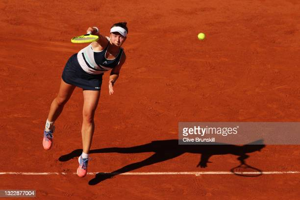 Barbora Krejcikova of The Czech Republic serves in her Semi-Final Women's Singles match against Maria Sakkari of Greece during Day Twelve of the 2021...