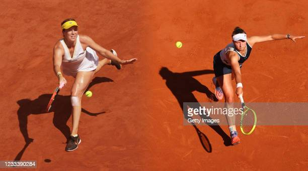 Barbora Krejcikova of The Czech Republic stretches to play a backhand in her Semi-Final Women's Singles match against Maria Sakkari of Greece during...