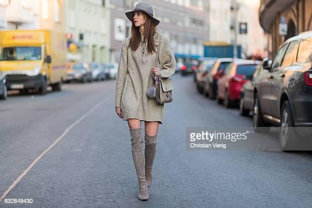 Barbora Ondrackova wearing a beige oversized knit Zara beige Stuart Weitzman overknees a beige Chloe bag a grey HM hat on January 27 2017 in Berlin...