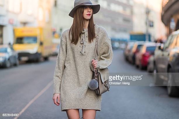 Barbora Ondrackova wearing a beige oversized knit Zara beige Stuart Weitzman overknees a beige Chloe bag a grey HM hat on January 27 2017 in Berlin...