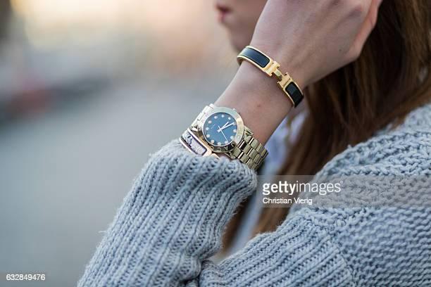 Barbora Ondrackova wearing a grey knit Topshop a Marc by Marc Jacobs watch on January 27 2017 in Berlin Germany