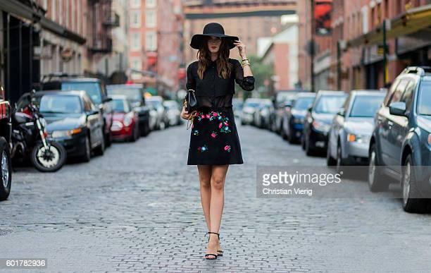 Barbora Ondrackova wearing a Ivy Revel shirt skirt Viveta Topshop hat Asos heels Chloe bag outside on September 9 2016 in New York City