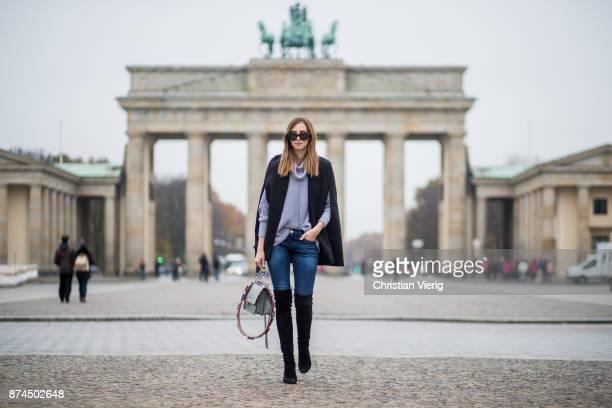 Barbora Ondrackova wearing American Apparel turtleneck knit black Stuart Weitzman overknee boots Fendi bag Celine sunglasses True Religion denim...