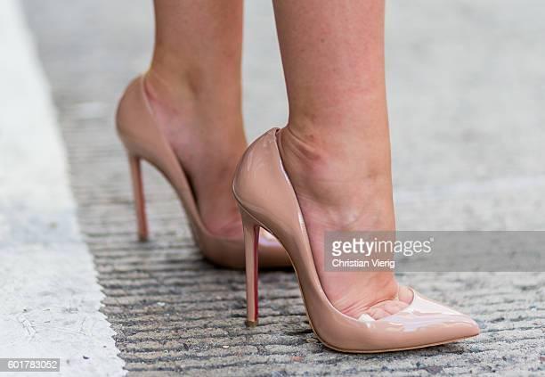 Barbora Ondrackova wearing Christian Louboutin heels outside on September 9 2016 in New York City