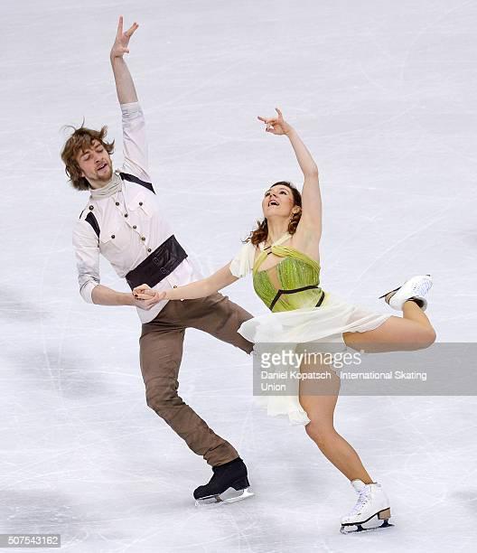 Barbora Silna and Juri Kurakin of Austria perform during Ice Dance Free Dance on day four of the ISU European Figure Skating Championships 2016 on...
