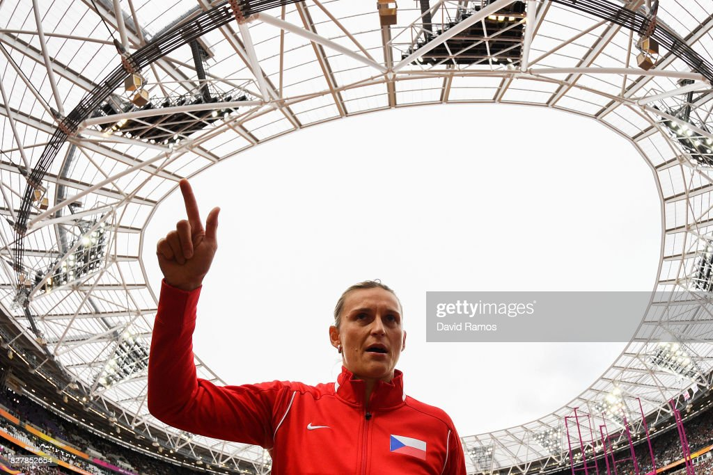 Barbora Spotakova of Czech Reoublic talks with her coach during the warm up prior to the Women's Javelin final during day five of the 16th IAAF World Athletics Championships London 2017 at The London Stadium on August 8, 2017 in London, United Kingdom.