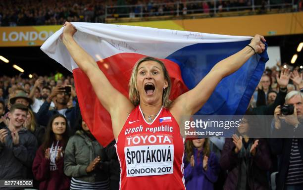 Barbora Spotakova of Czech Republic celebrates after winning the Women's Javelin final during day five of the 16th IAAF World Athletics Championships...