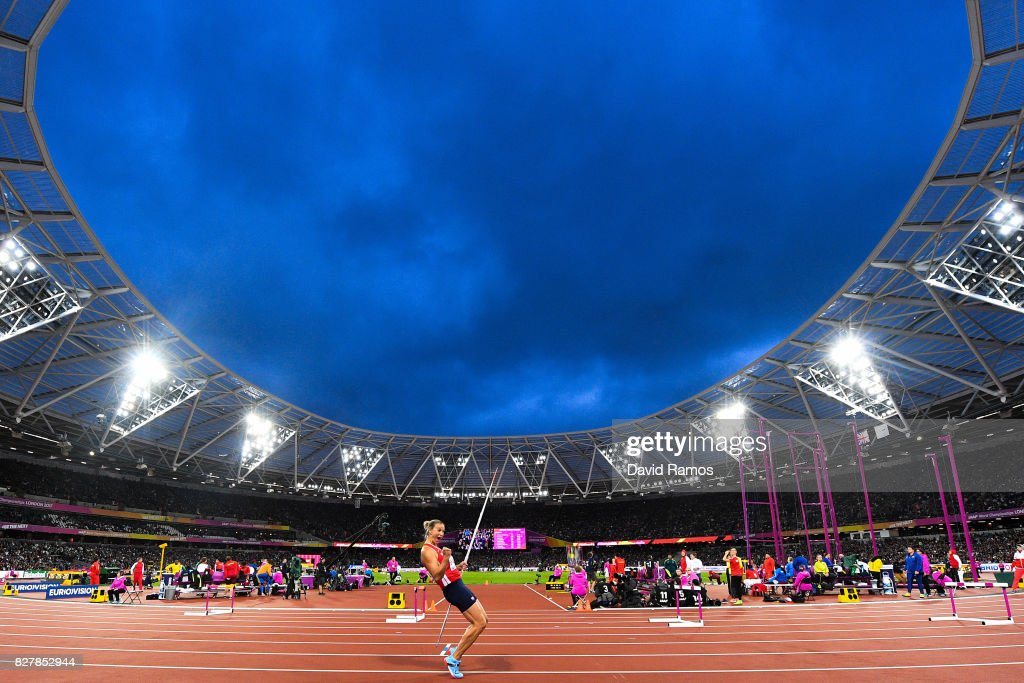 Barbora Spotakova of Czech Republic celebrates winning in the Women's Javelin final during day five of the 16th IAAF World Athletics Championships London 2017 at The London Stadium on August 8, 2017 in London, United Kingdom.