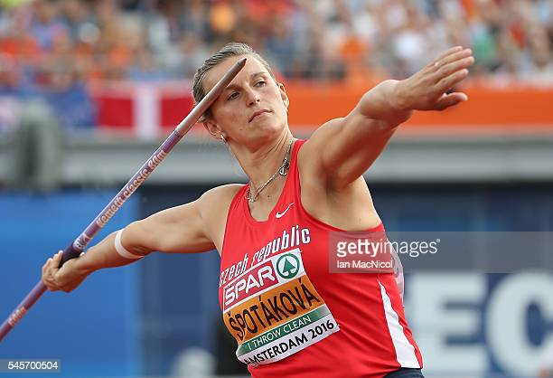 Barbora Spotakova of Czech Republic in action during the final of the womens javelin on day four of The 23rd European Athletics Championships at...