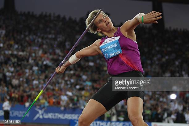 Barbora Spotakova of Czech Republic in the women's javelin during the Iaaf Diamond League meeting at the Letzigrund Stadium on August 19 2010 in...