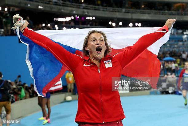 Barbora Spotakova of the Czech Republic celebrates winning bronze in the Women's Javelin final on Day 13 of the Rio 2016 Olympic Games at the Olympic...