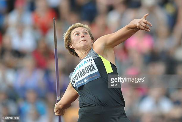 Barbora Spotakova of the Czech Republic competes during the women's Javelin event at the Zlata Tretra athletics meeting on May 25 2012 in the eastern...