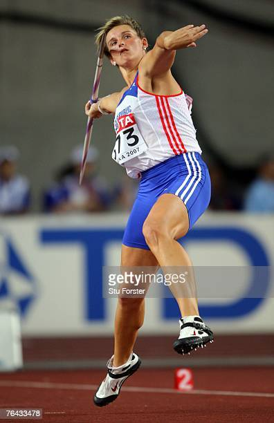 Barbora Spotakova of the Czech Republic competes during the Women's Javelin Throw Finals on day seven of the 11th IAAF World Athletics Championships...