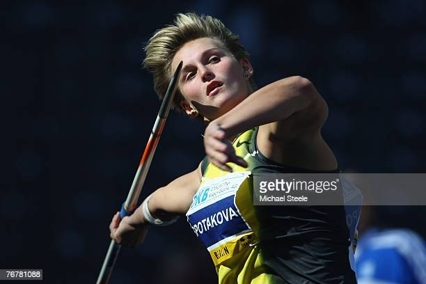 Barbora Spotakova of the Czech Republic competes during the women's javelin at the IAAF Golden League ISTAF meet at the Olympic Stadium September 16...