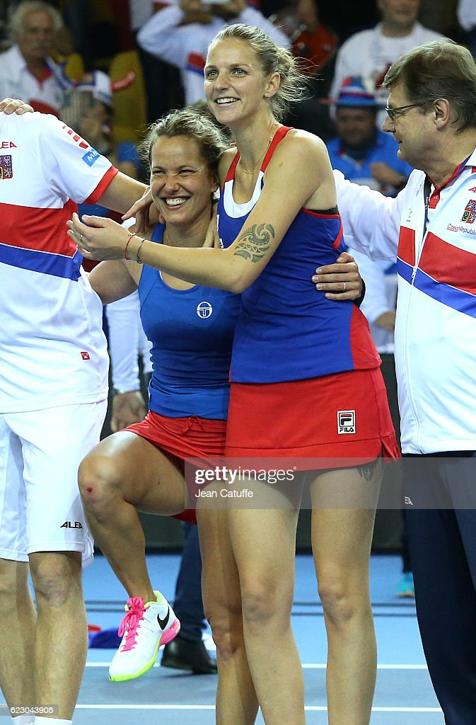 Barbora Strycova and Karolina Pliskova of Czech Republic celebrate the victory following the 2016 Fed Cup Final between France and Czech Republic at Rhenus Sport arena on November 13, 2016 in Strasbourg, France.