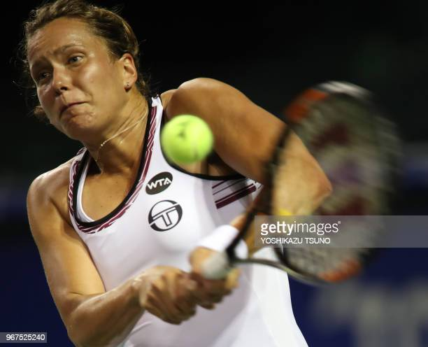 Barbora Strycova during the second round of the Toray Pan Pacific Open tennis championships in Tokyo on September 21 2016