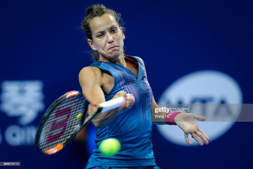 Barbora Strycova of Czech hits a return in her match against Anastasija Sevastova of Latvia during the WTA Elite Trophy Zhuhai 2017 at Hengqin Tennis Center on November 02, 2017 in Zhuhai, China.