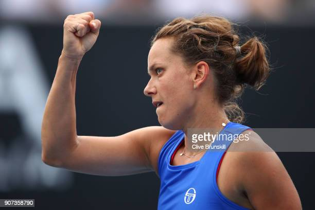 Barbora Strycova of Czech Republic celebrates a point in her third round match against Bernarda Pera of the United States on day six of the 2018...