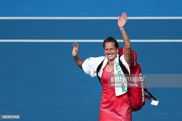 Barbora Strycova of Czech Republic celebrates after winning her match against Lucie Safarova of Czech Republic on day three of the ASB Classic on...