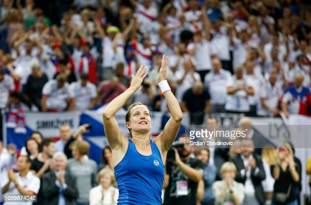 Barbora Strycova of Czech Republic celebrates after winning the match against Sofia Kenin of USA after the Fed Cup Final between Czech Republic and...