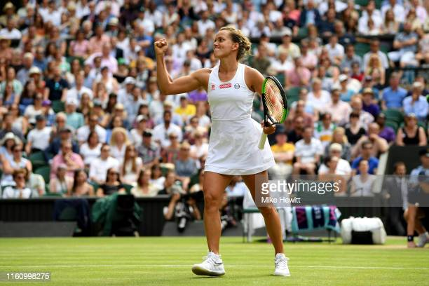 Barbora Strycova of Czech Republic celebrates in her Ladies' Singles Quarter Final match against Johanna Konta of Great Britain during Day Eight of...