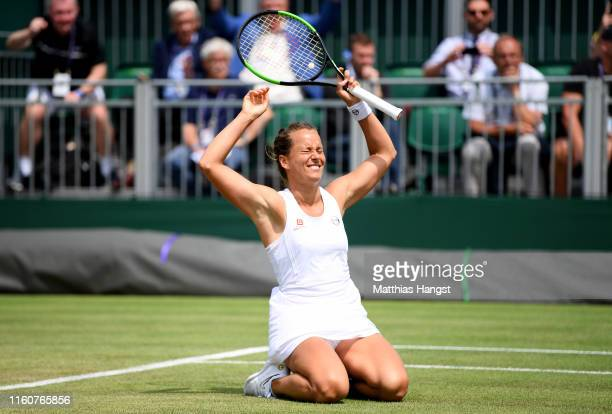 Barbora Strycova of Czech Republic celebrates match point in her Ladies' Singles fourth round match against Elise Mertens of Belgium during Day Seven...