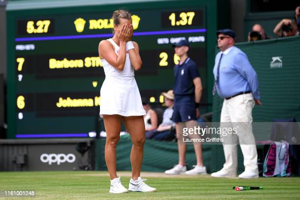 Barbora Strycova of Czech Republic celebrates match point in her Ladies' Singles Quarter Final match against Johanna Konta of Great Britain during...