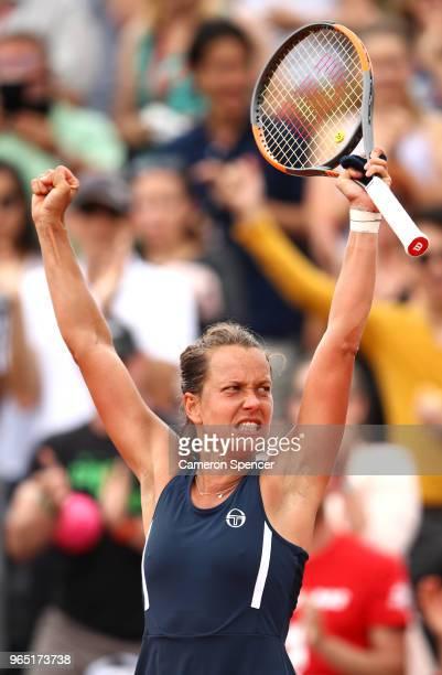 Barbora Strycova of Czech Republic celebrates victory during the ladies singles third round match against Katerina Siniakova of Czech Republic during...