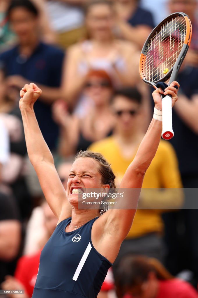Barbora Strycova of Czech Republic celebrates victory during the ladies singles third round match against Katerina Siniakova of Czech Republic during day six of the 2018 French Open at Roland Garros on June 1, 2018 in Paris, France.