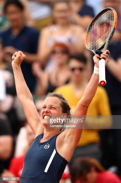 Barbora Strycova of Czech Republic celebrates victory during the ladies singles third round match against Katerina Siniakova of Czech Republic during...