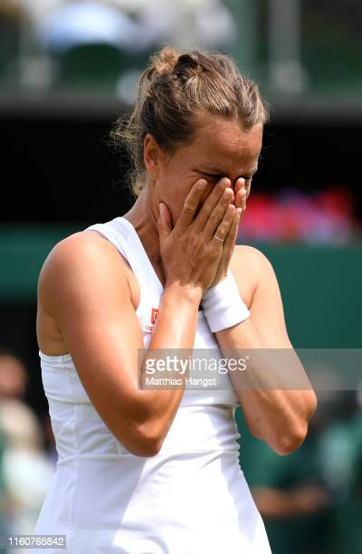 Barbora Strycova of Czech Republic celebrates victory in her Ladies' Singles fourth round match against Elise Mertens of Belgium during Day Seven of...