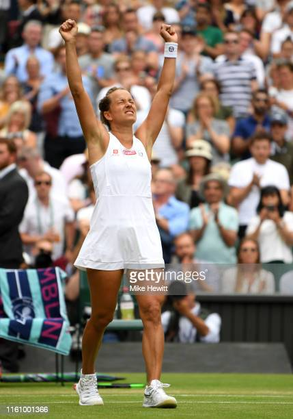 Barbora Strycova of Czech Republic celebrates victory in her Ladies' Singles Quarter Final match against Johanna Konta of Great Britain during Day...