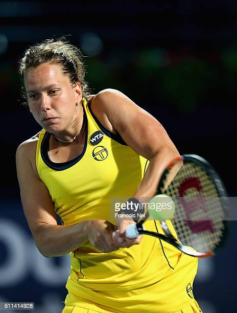 Barbora Strycova of Czech Republic in action against Sara Errani of Italy during the women's final match of the WTA Dubai Duty Free Tennis...