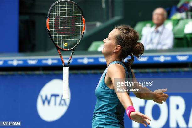 Barbora Strycova of Czech Republic in action in her quarter final match against Anastasia Pavlyuchenkova of Russia during day five of the Toray Pan...