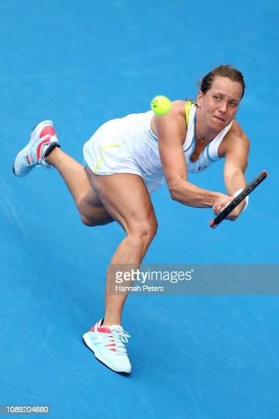Barbora Strycova of Czech Republic plays a backhand during her round of 16 match against Amanda Anisimova of USA at the ASB Classic on January 03...