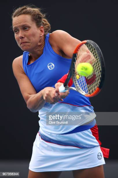 Barbora Strycova of Czech Republic plays a backhand in her third round match against Bernarda Pera of the United States on day six of the 2018...