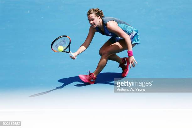 Barbora Strycova of Czech Republic plays a shot in her first round match against Sara Errani of Italy during day two of the ASB Women's Classic at...