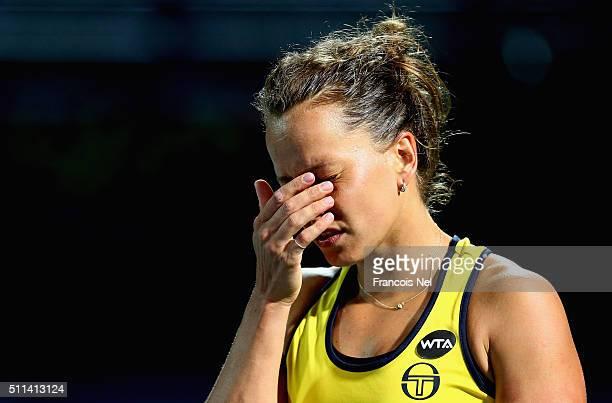 Barbora Strycova of Czech Republic reacts against Sara Eranni of Italy during the women's final match of the WTA Dubai Duty Free Tennis Championship...