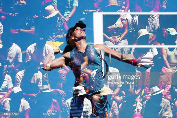 Barbora Strycova of Czech Republic serves in her match against Johanna Larsson of Sweden during day three of the ASB Women's Classic at ASB Tennis...