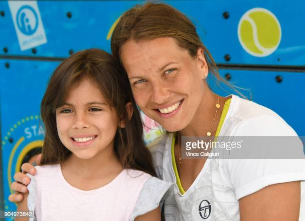Barbora Strycova of poses at Autograph Island during day one of the 2018 Australian Open at Melbourne Park on January 15 2018 in Melbourne Australia