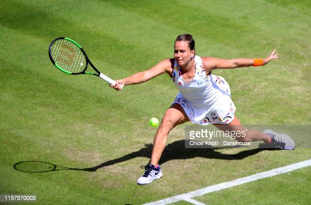 Barbora Strycova of the Czech plays a shot during her semifinal match against Ashleigh Barty of Australia during day six of the Nature Valley Classic...