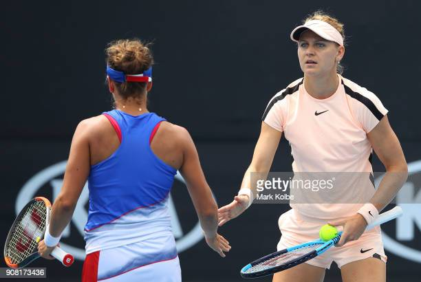 Barbora Strycova of the Czech Republic and Lucie Safarova of the Czech Republic compete in their third round women's doubles match against Sorana...