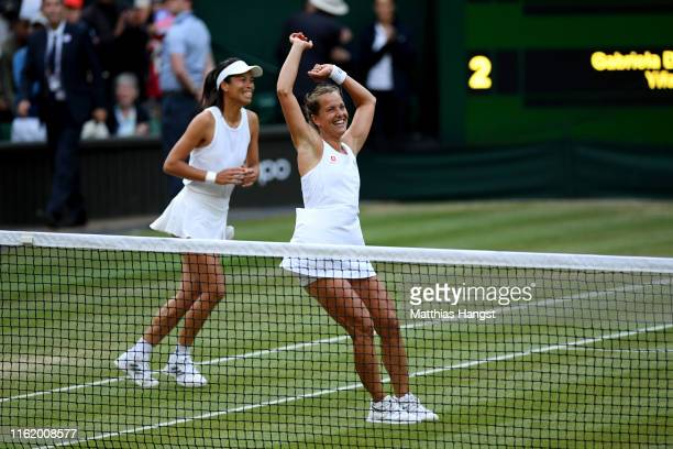 Barbora Strycova of The Czech Republic and playing partner Su-Wei Hsieh of Taiwan celebrate victory in their Ladies' Doubles final against Gabriela...